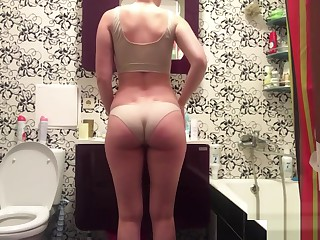 Bathroom camera caught masturbating go steady with primarily real homemade sex video