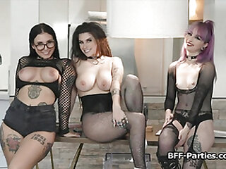 Teen ravers riding deejays dick in foursome