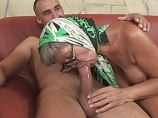 Very hot granny with amazing tits is banged by a young perverse