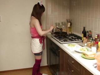 Nippon girlfriend jerking shlong with sleeve