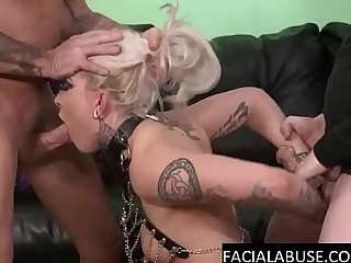 Blonde skank face fucked to extreme